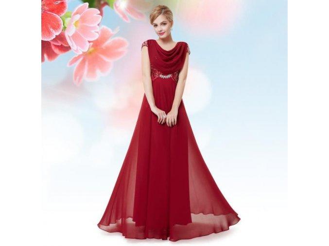 Červené dlouhé společenské šaty se závojem na předním i zadním díle