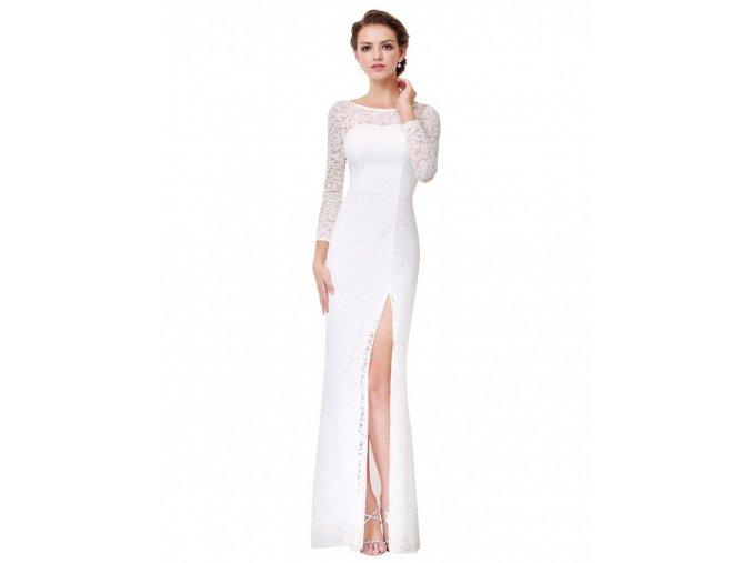 Bílé úzké dlouhé svatební šaty celokrajkové s dlouhým rukávem