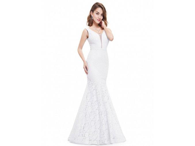 Bílé dlouhé úzké svatební šaty krajkové (2)