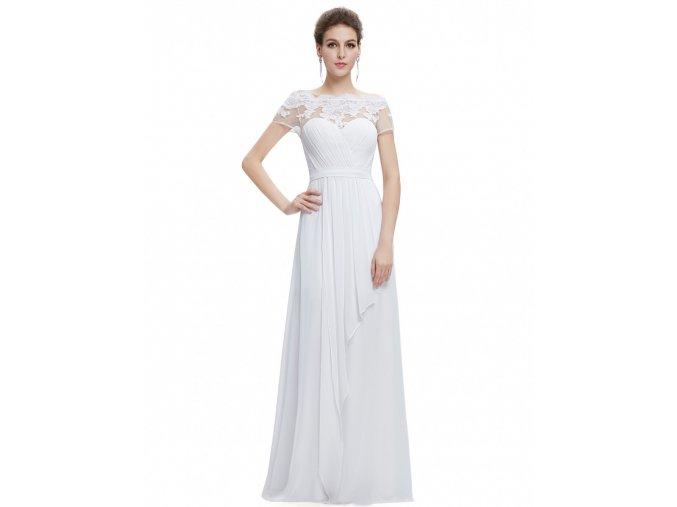 Bílé dlouhé svatební šaty s krajkou a volánem 1 15