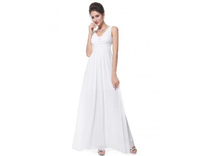 Bílé dlouhé jednoduché svatební šaty šifónové
