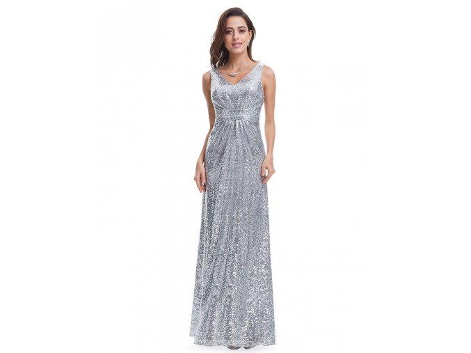 Stříbrné flitrované dlouhé společenské šaty na ples svatbu 2