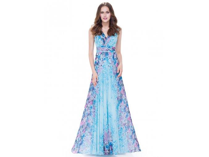 Modré barevné květované společenské šaty na svatbu ples 3