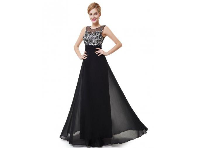 Černé stříbrné společenské šaty s vyšívaným živůtkem na ples