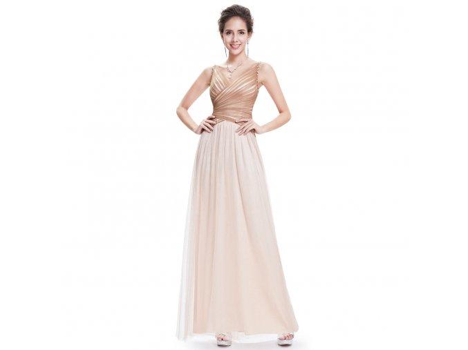 Béžové dlouhé jemné společenské šaty na svatbu