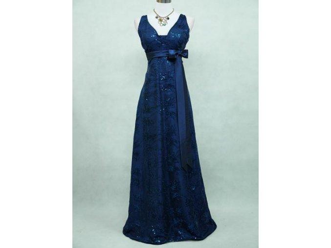 Modré dlouhé epolečensé šaty širší ramínka krajka 1