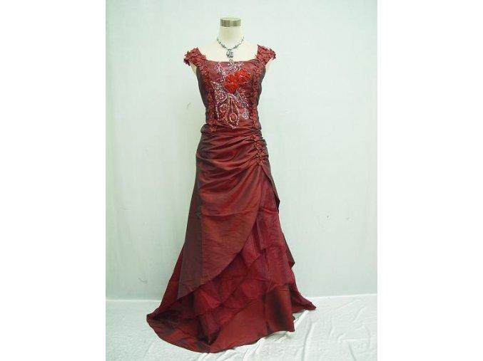 Červené bordó vínové společenské šaty pro plnoštíhlé s vyšívaným korzertem a kytičky