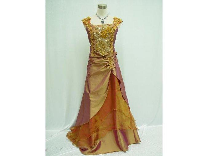 Zlaté žluté dlouhé společenské šaty s vyšívaným korztem a širokými ramínky