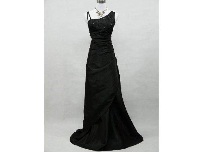 Černé dlouhé společenské plesové šaty nadměrná velikost pro plnoštíhlé zavinovací