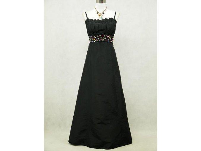 Černé dlouhé společenské plesové šaty s barevnými kamínky pro plnoštíhlé