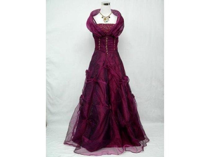 Fialové dlouhé společenské šaty z organzy se šálou kolem ramen pro plnoštíhlé