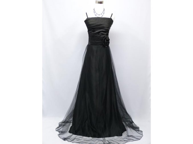 Černé dlouhé společenské šaty na večer pro plnoštíhlé se sklady a organzou
