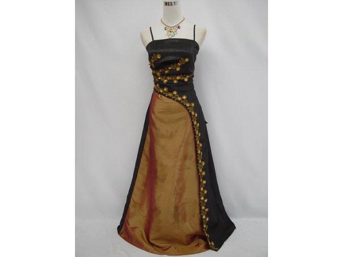Černé zlaté večerní svatební společenské plesové šaty na ples pro plnoštíhlé