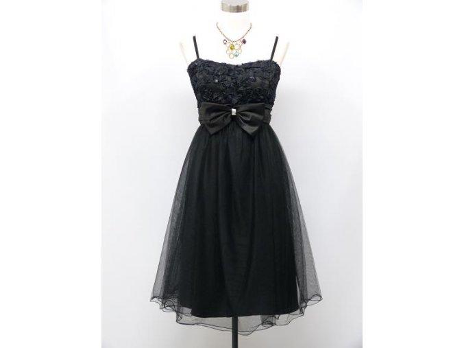 Černé krátké společenské šaty po kolena koktejlky s mašlí a zdobeným živůtkem pro plnoštíhlé