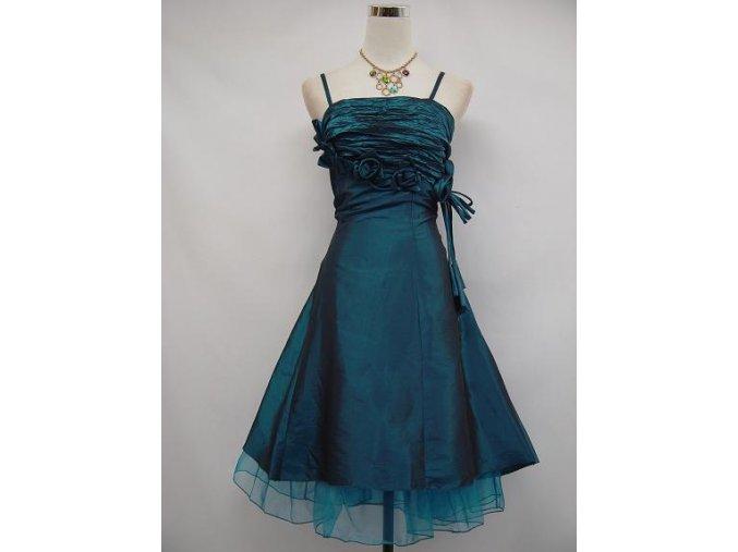 Modré krátké společenské plesové šaty po kolena koktejlky s květinovou aplikací