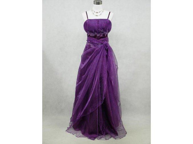 Fialové dlouhé svatební společenské plesové šaty s organzou pro plnoštíhlé