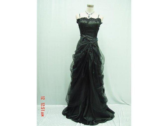 Černé společenské nadýchané šaty s výšívaným topem n ples do tanečních