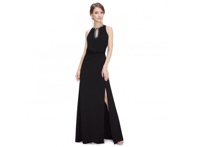 Černé dlohé stretchové šaty s rozparkem na ples