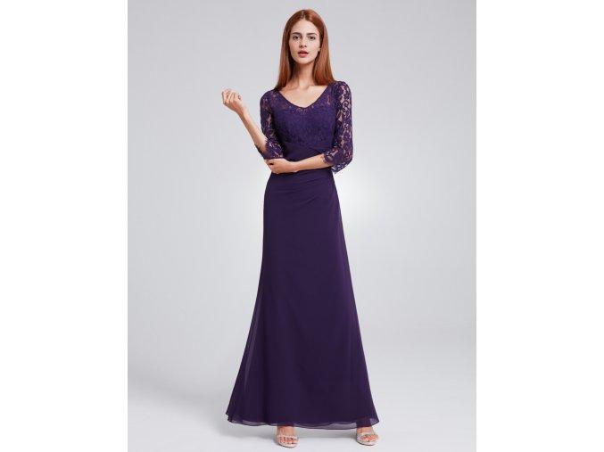 Fialové dlouhé společenské šaty s krajkovými rukávy 2