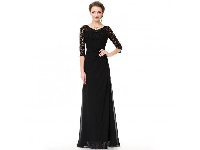 Černé dlouhé společenské šaty s krajkovým rukávem na ples do divadla