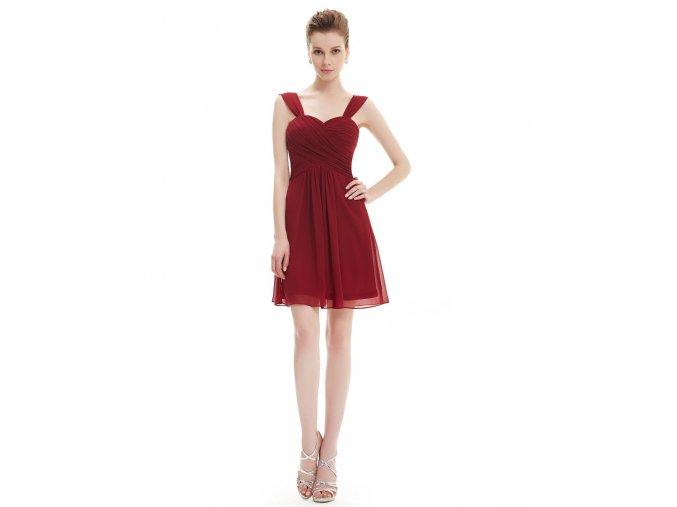 Červené krátké společenské šaty koktejlky s krčeným živůtkem1