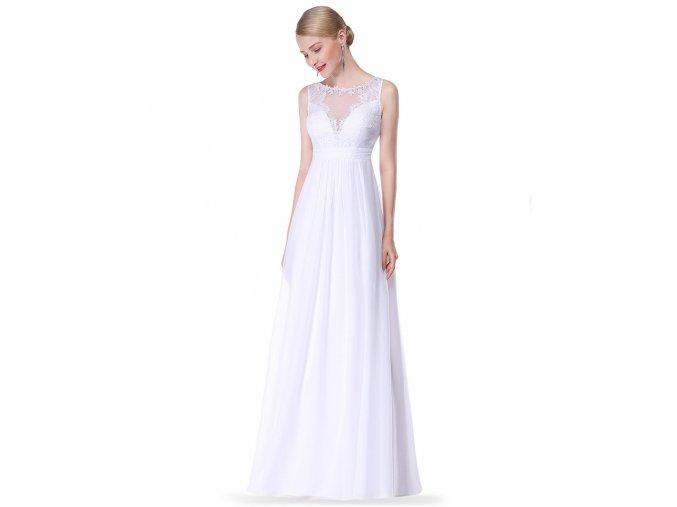 Bílé dlouhé svatební šaty pro těhotné s krajkovým dekoltem