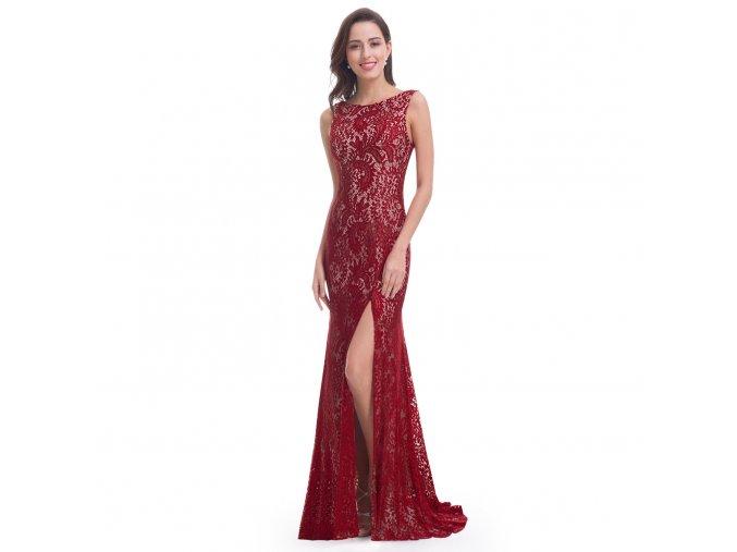 červené vínové dlouhé společenské šaty z krajky na ples svatbu