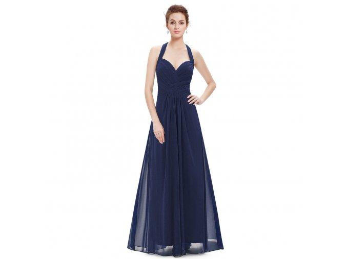 Modré dlouhé společenské šaty s řasením za krk na ples