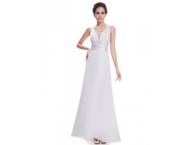 Bílé dlouhé sexy jednoduché svatební šaty saténové