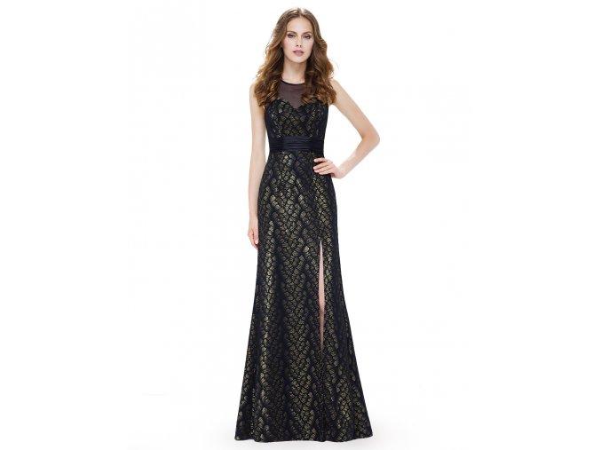 Černé zlaté luxusní dlouhé společenské šaty s rozparkem a stuhou na ples 2