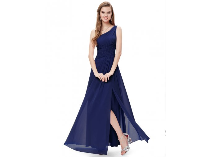 Modré dlouhé společenské šaty ne jedno rameno na ples na svatbu