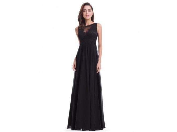Černé dlouhé společenské krajkové dlouhé šaty se sexy dekoltem
