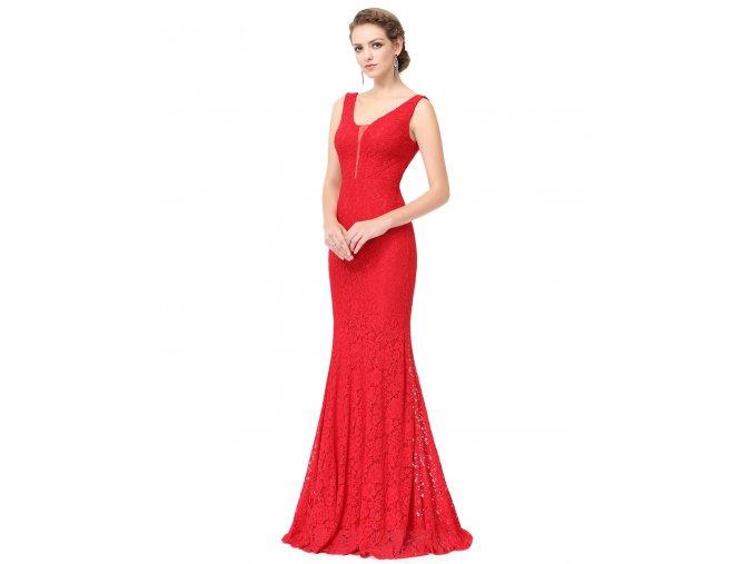 Červené krajkové pouzdrové společenské sexy levné šaty na ples