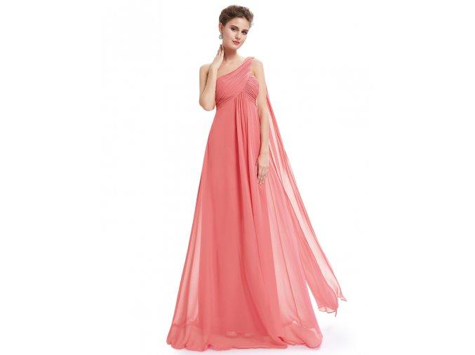 Lososové růžové společensé šaty empírové na jedno rameno pro těhotné
