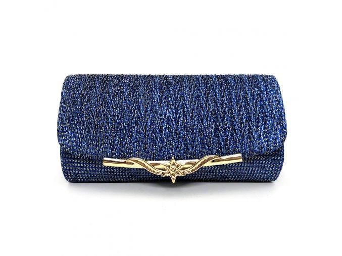 Modrá luxusní večerní plesová kabelka psaníčko na ples se zlatou sponou 2