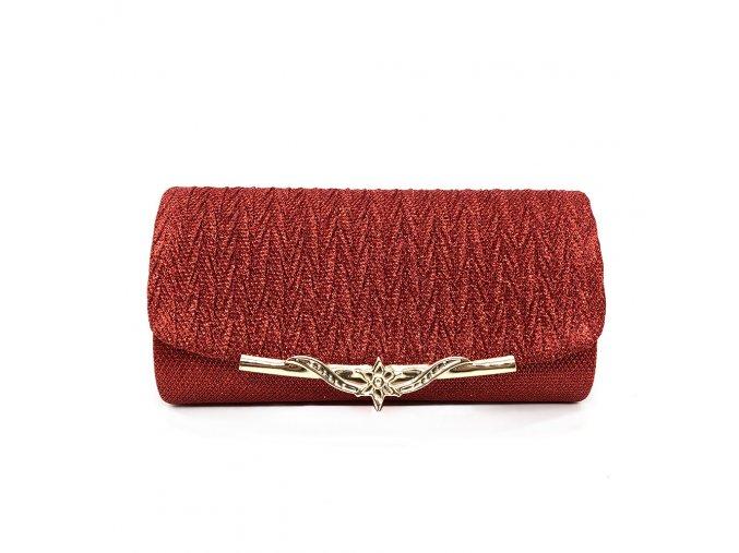 Červená luxusní večerní plesová kabelka psaníčko na ples se zlatou sponou