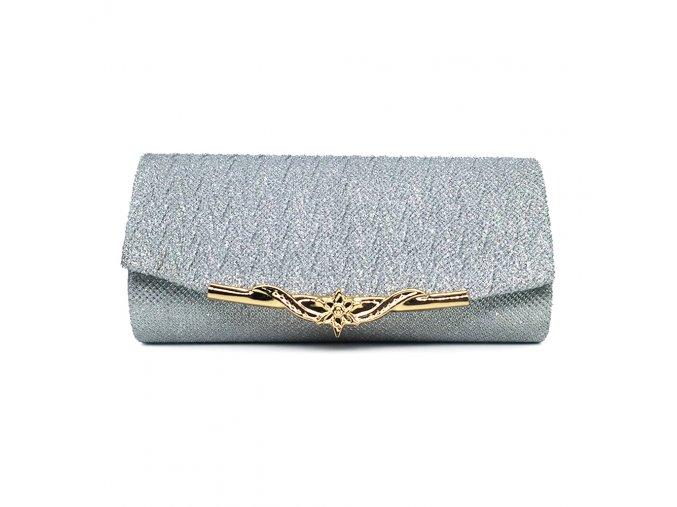Stříbrná luxusní večerní plesová kabelka psaníčko na ples se zlatou sponou