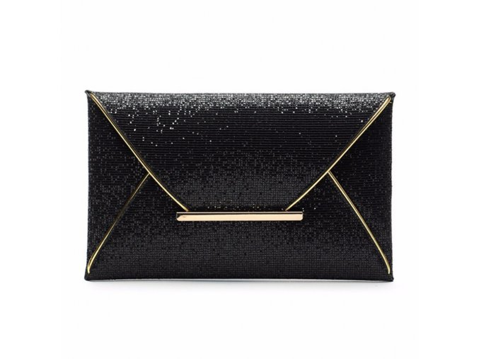 Černá metalická kabelka večerní psaníčko do ruky