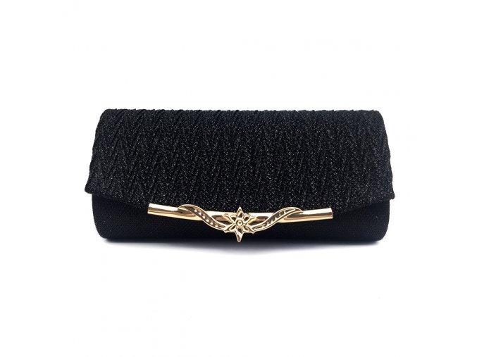 Černá luxusní mini kabelka psaníčko na ples svatbu do společnosti se zlatou přezkou 1