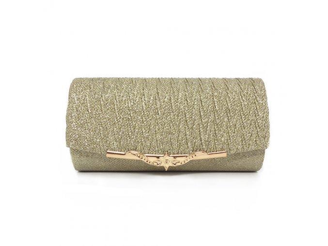 Zlatá luxusní mini kabelka psaníčko na ples svatbu do společnosti se zlatou přezkou 1