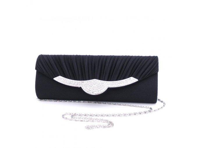 Černá luxusní mini kabelka na ples se stříbrnou štrasovou ozdobou na klopě