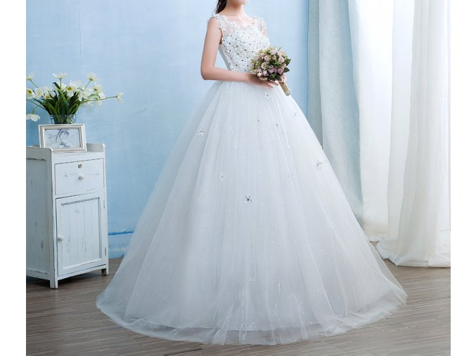 Bílé dlouhé luxusní těhotenské svatební šaty s kopretinami a mašlí v pase 1