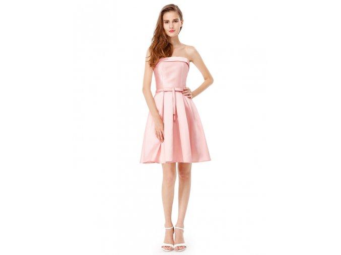 Růžové krátké společenské šaty koktejlky bez ramínek na svatbu