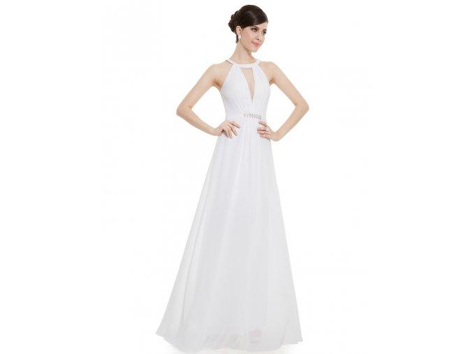 Bílé dlouhé sexy svatební šaty za krk bez rukávů na svatbu