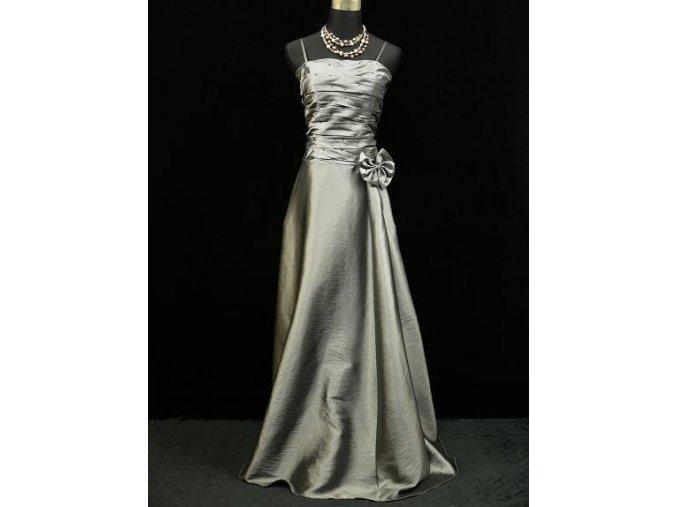 Sedé střívbrné společenské šaty se sklady na svatbu na ples
