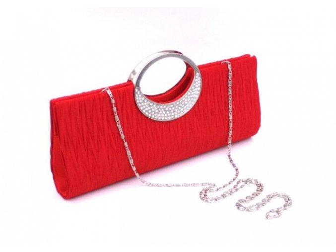 Červená rudá společenské kabelka psaníčko se stříbrnýcm uchem