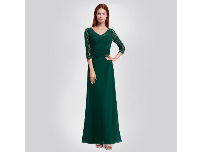Zelené dlouhé společenské šaty na ples s krajkovým topem zavinovací