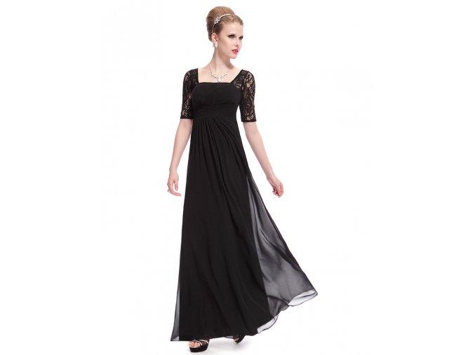 Černé dlouhé luxusní společenské těhotenské šaty s krajkovými rukávy