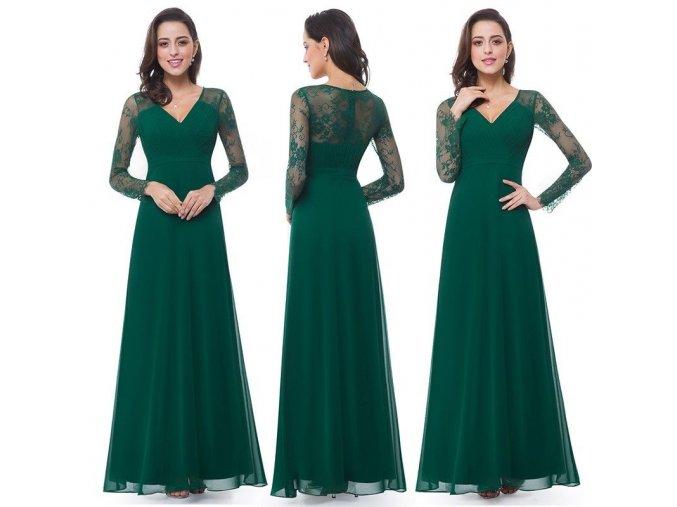 Tmavě zelené dlouhé luxusní společenské šaty s dlouhými krajkovými rukávy na ples svatbu 5