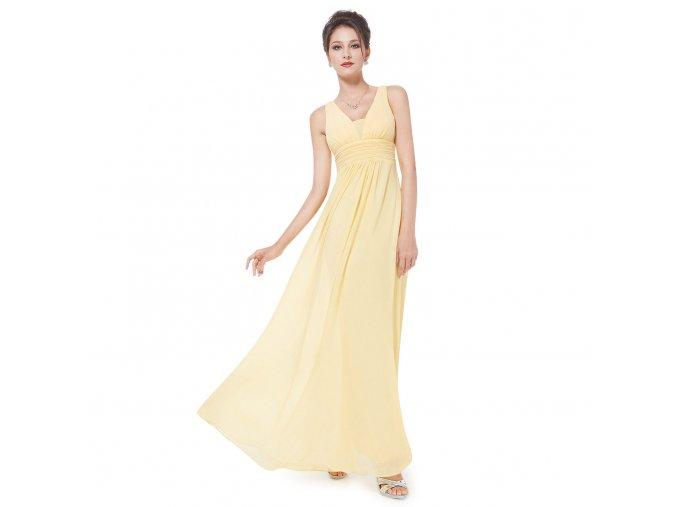 Žluté okrové společenské šaty na širší ramínka vhodné pro těhotné